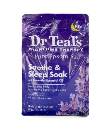 Dr Teal's Nighttime Therapy Pure Epsom Salt by Dr Teal's For Men - Sooth & Sleep Soak with Lavender Essential Oil 4 pounds